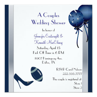 Blue &  Gray Football Couples Wedding Shower 5.25x5.25 Square Paper Invitation Card