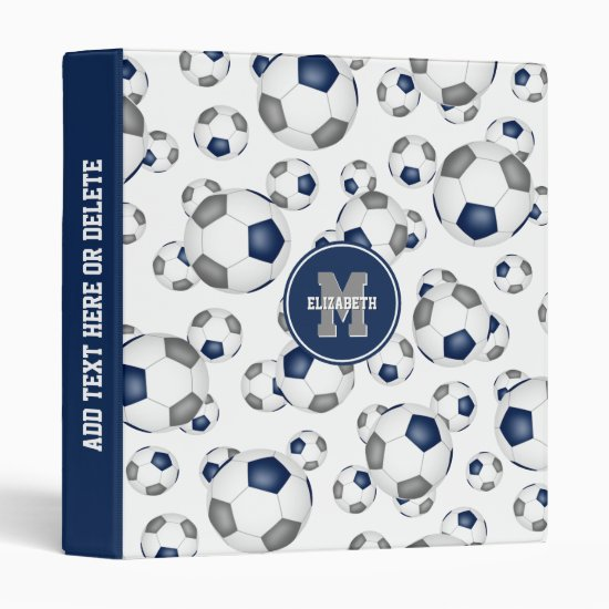 blue gray girls boys team colors soccer balls 3 ring binder