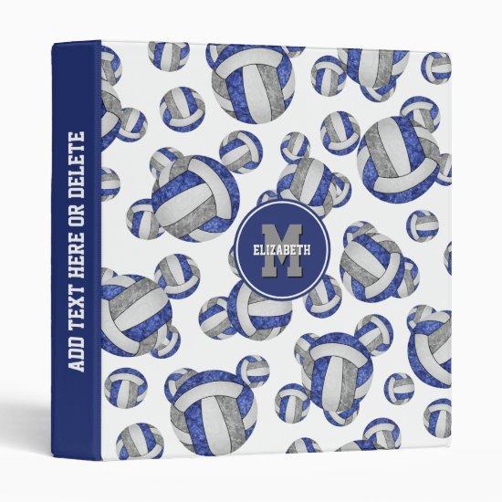 blue gray girls school colors volleyball pattern 3 ring binder