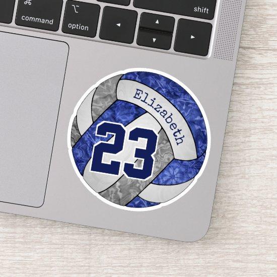 blue gray girls' volleyball school team colors sticker