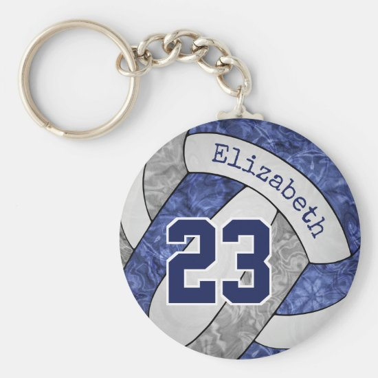 blue gray girls volleyball team colors name number keychain