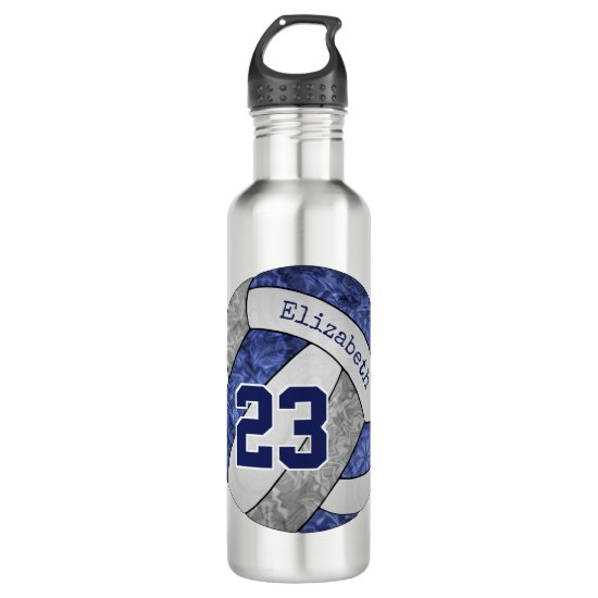 blue gray girls volleyball team colors name number stainless steel water bottle
