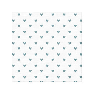 Blue Gray Glitter Hearts Pattern Stretched Canvas Prints