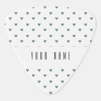 Blue Gray Glitter Hearts Pattern Guitar Pick