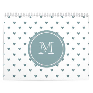 Blue Gray Glitter Hearts with Monogram Calendar