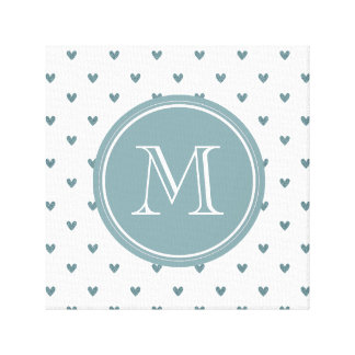 Blue Gray Glitter Hearts with Monogram Gallery Wrapped Canvas