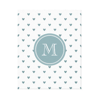 Blue Gray Glitter Hearts with Monogram Canvas Prints