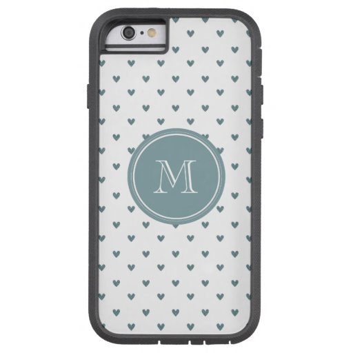 Blue Gray Glitter Hearts with Monogram iPhone 6 Case