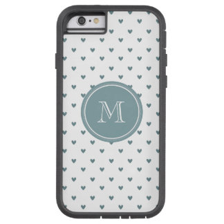 Blue Gray Glitter Hearts with Monogram Tough Xtreme iPhone 6 Case
