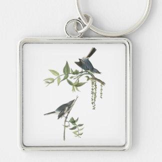Blue-gray Gnatcatcher, John Audubon Silver-Colored Square Keychain