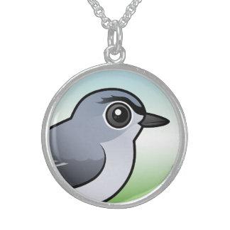 Blue-gray Gnatcatcher Round Pendant Necklace
