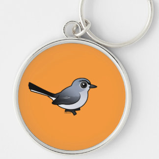 Blue-gray Gnatcatcher Silver-Colored Round Keychain