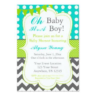 Blue Gray Green Baby Boy Shower Invite