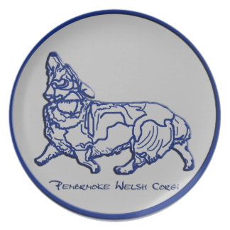 Blue & Gray - Heeling with Attention Melamine Plate