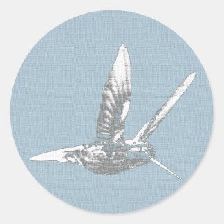 Blue Gray Hummingbird Classic Round Sticker