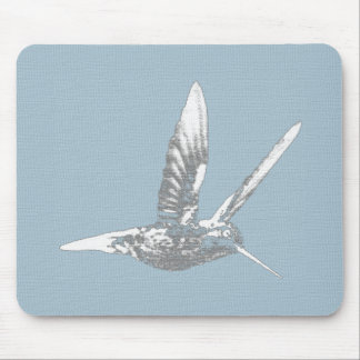 Blue Gray Hummingbird Mouse Pad