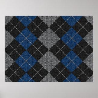 Blue & Gray Knit Argyle Pattern Poster