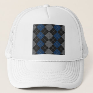 Blue & Gray Knit Argyle Pattern Trucker Hat