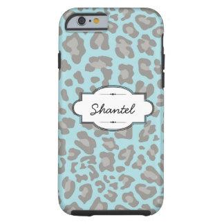 Blue/Gray Leopard Print Custom iPhone 6 Tough Case Tough iPhone 6 Case