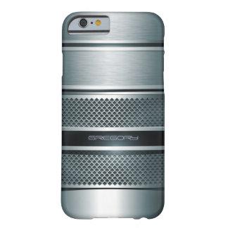 Blue Gray Metallic Design-Monogram Barely There iPhone 6 Case