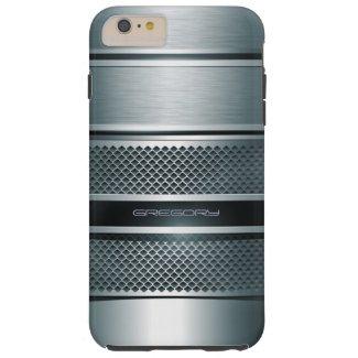 Blue Gray Metallic Design-Monogram Tough iPhone 6 Plus Case