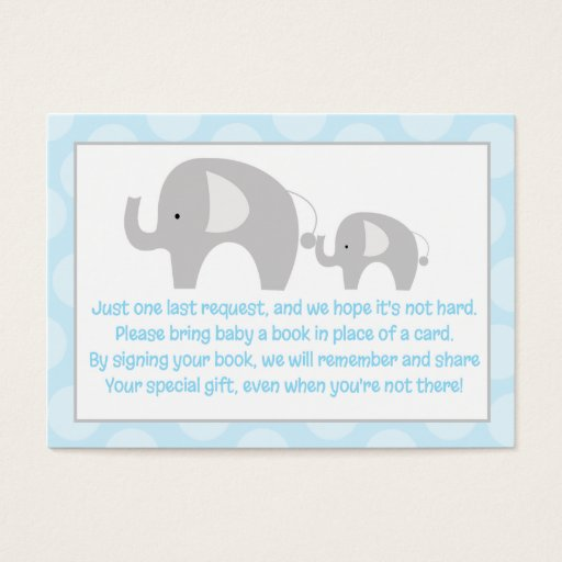 Blue/Gray Mod Elephant Enclosure Book Request Card