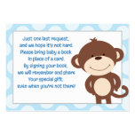Blue/Gray Monkey Enclosure Book Request Card Large Business Cards (Pack Of 100)