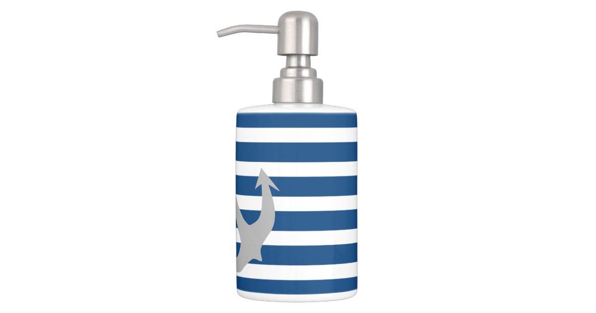 Blue gray nautical anchor bathroom accessory set zazzle for Blue grey bathroom accessories