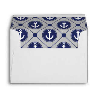 Blue Gray Nautical Anchor Lined Envelope