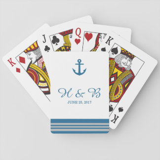 Blue Gray Nautical Anchor Playing Cards