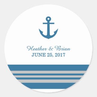 Blue Gray Nautical Anchor Wedding Stickers