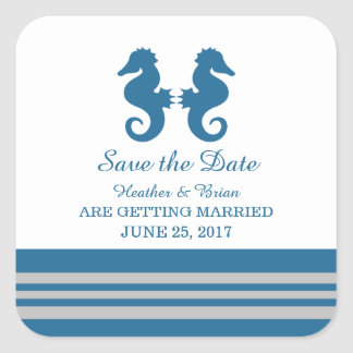 Blue Gray Nautical Seahorse Save the Date Square Sticker