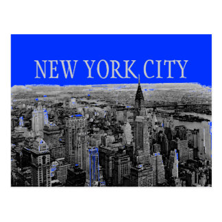 Blue Gray New York City Pop Art Postcards