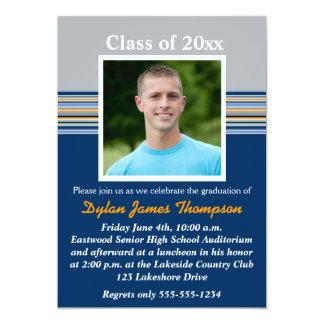 "Blue, Gray, Orange Photo Graduation Invitation 5"" X 7"" Invitation Card"