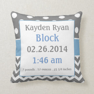 Blue Gray Personalized Baby Announcement Pillow