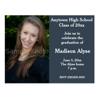 Blue Gray Photo Graduation Invitation Postcard