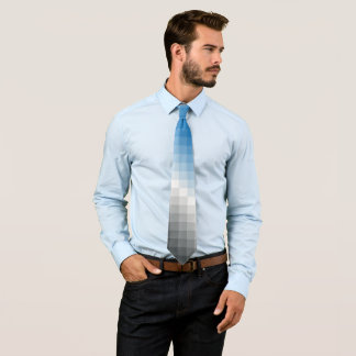 Blue Gray Pixel Men's Tie