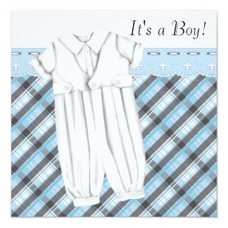 Blue Gray Plaid Romper & Booties Baby Boy Shower Card