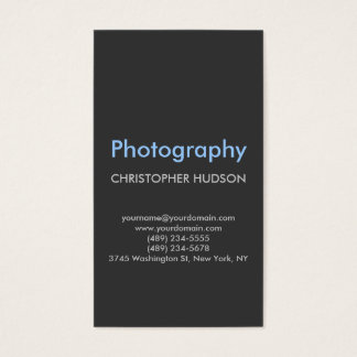 Blue Gray Plain Photography Business Card