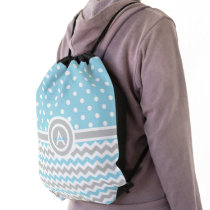 Blue Gray Polka Dot Chevron Drawstring Bag