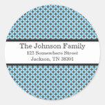 Blue & Gray Polka Dots Christmas Address Stickers