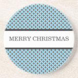 Blue & Gray Polka Dots Christmas Coaster