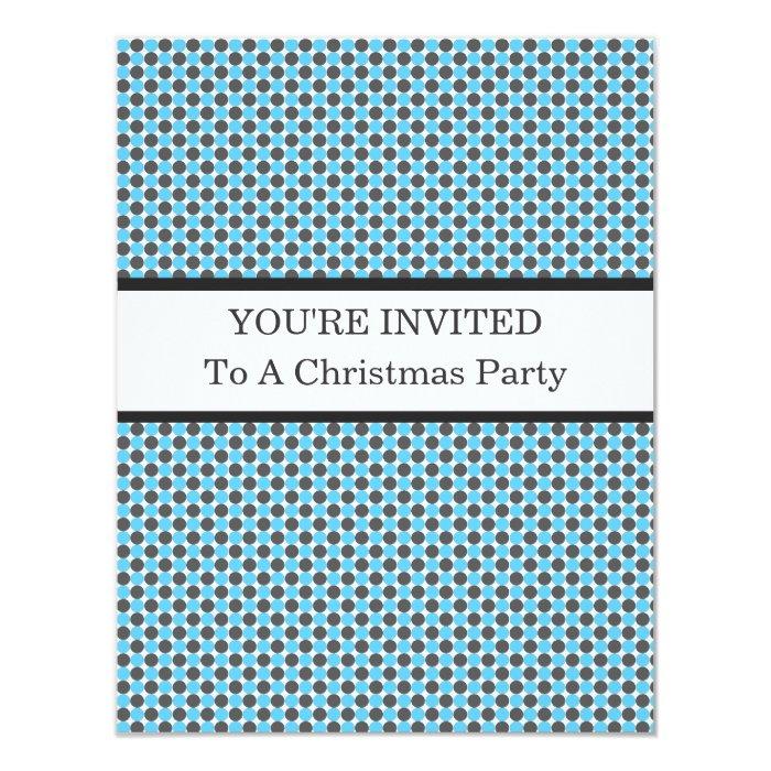 Blue & Gray Polka Dots Christmas Invitations
