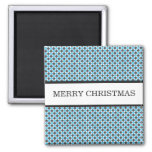 Blue & Gray Polka Dots Christmas Magnet