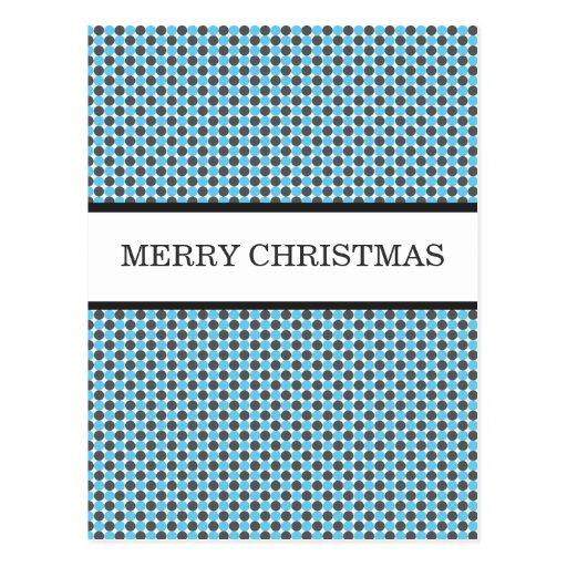 Blue & Gray Polka Dots Christmas Post Cards