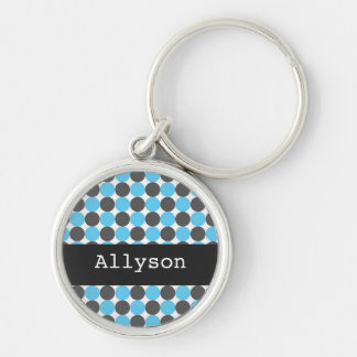Blue & Gray  Polka Dots  Personalize Key Chain