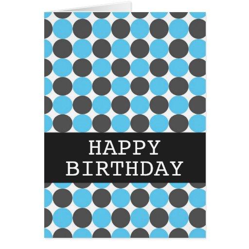 Blue & Gray Polka Happy Birthday Background Card   Zazzle