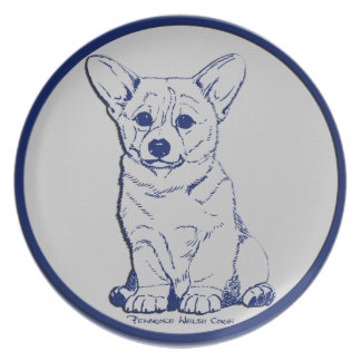 Blue & Gray - Promising Puppy Melamine Plate