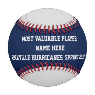 Blue Gray Red Baseball, MVP Player Award Baseball