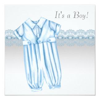 Blue Gray Romper Booties Baby Boy Shower Card